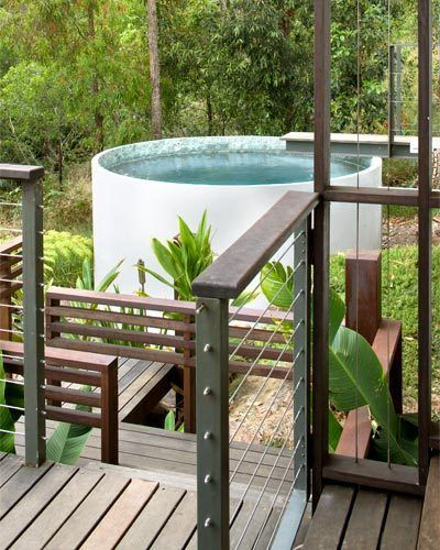 Plunge Pool at a Home in Australia - Created in a Rainwater Tank with Tiles from Indonesia via Better Homes and Gardens