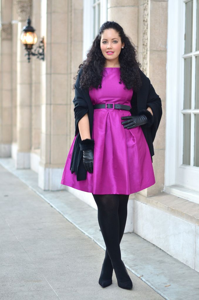 Girl With Curves: Holiday Glam - If it's too bright for you go with a deeper or grayer color - love the luxe fabric of the dress though and it is very figure flattering