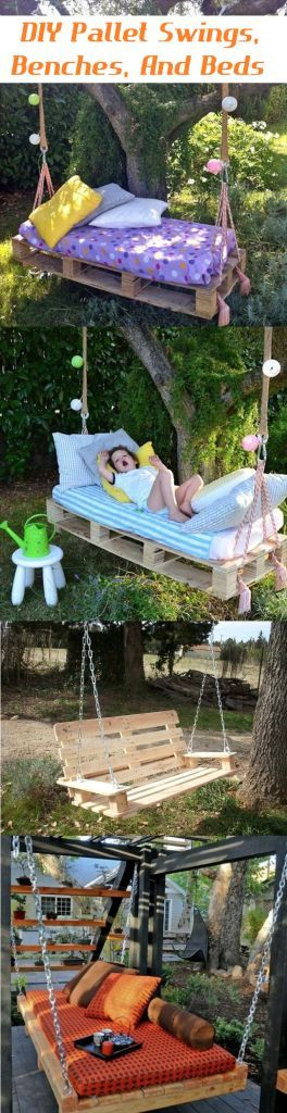 DIY Pallet Swings, Benches, And Beds...so that wooden swing picture has me thinking about making a mini version for sophie's AG dolls!