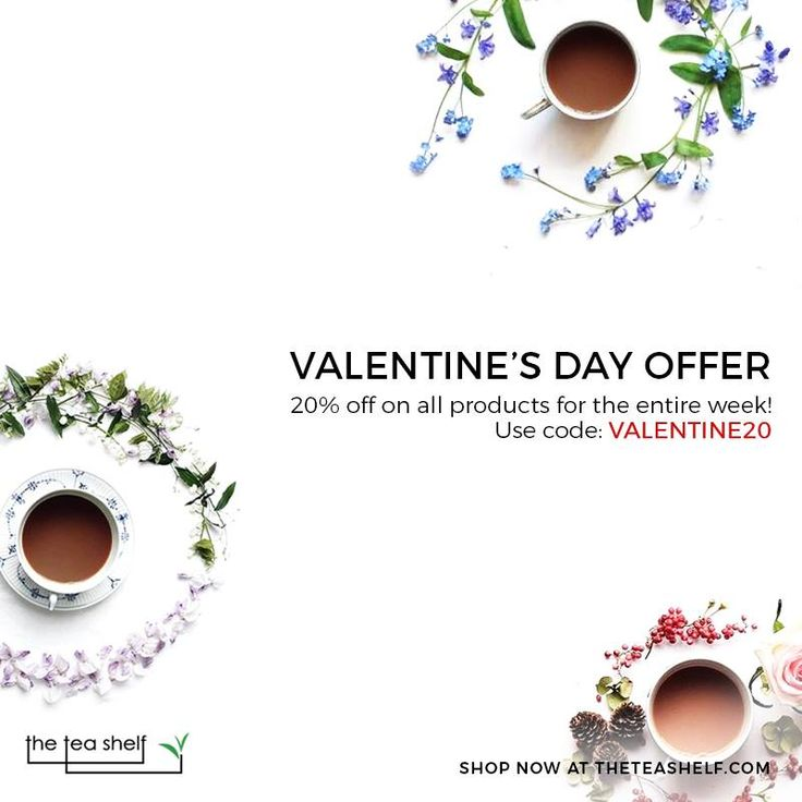 A cup of tea is nothing short of a cup of love! Embrace the spirit of love with the fragrant notes of our exclusive line of teas. Use coupon code VALENTINE20 and get 20% off all week!