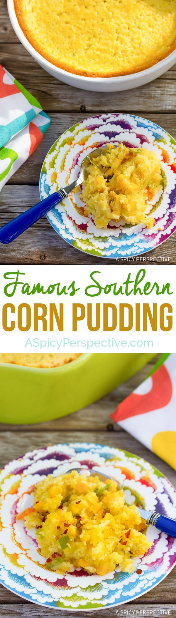 "Try this for the holidays - Famous Corn Pudding Recipe on ASpicyPerspective.com. Known as ""Damn Good Corn Pudding"" in Asheville, NC. #thanksgiving"
