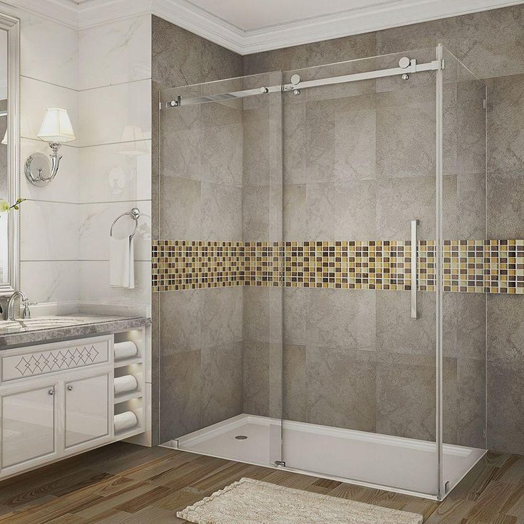 Aston Moselle 60 in. x 35 in. x 75 in. Completely Frameless Sliding Shower Enclosure in Stainless Steel with Clear Glass