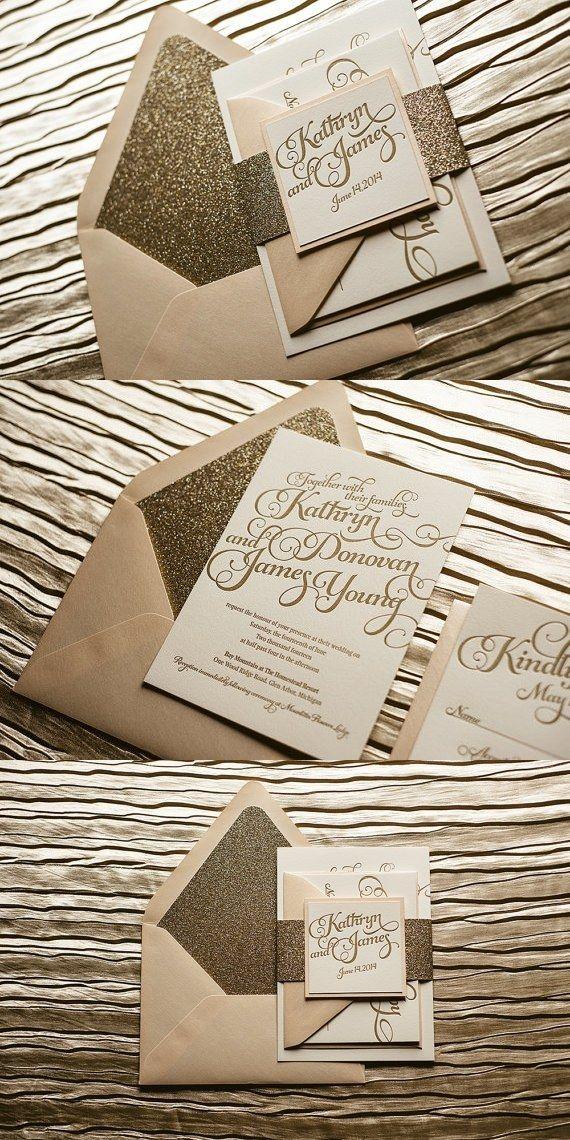 Blush & Gold Glitter Letterpress Wedding Invitation, Gold Glitter Wedding Invite, Calligraphy Invitation, Gold Invitation - Sample Set