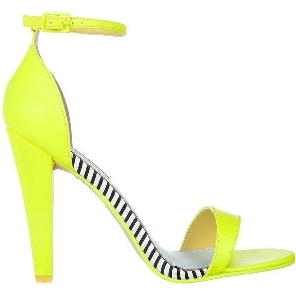 Miss KG Francene Sandals in Neon Yellow ($79) ❤ liked on Polyvore featuring shoes, sandals, stripe shoes, neon yellow sandals, miss kg, fluorescent yellow shoes and yellow high heel shoes
