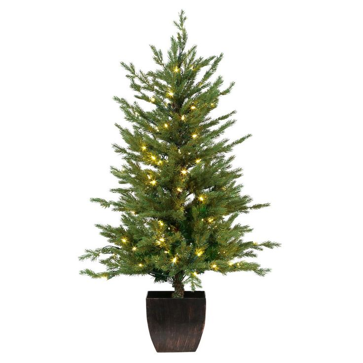 4 ft. Pre-Lit Warm White LED Potted Artificial Christmas Tree (Set of 2), Greens