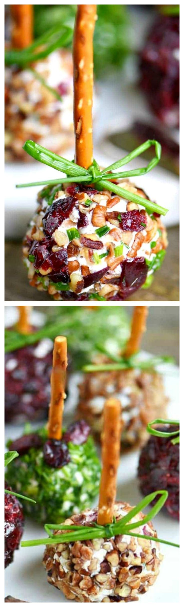 Cranberry Pecan Mini Goat Cheese Balls ~ So easy to make and gorgeous too... Perfect for Thanksgiving, Christmas, and New Year's!