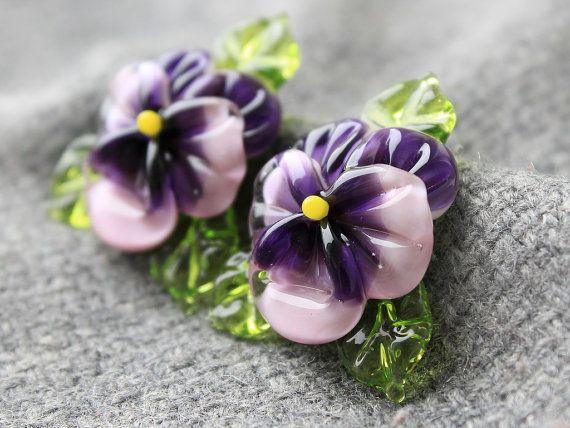 Murano fatto a mano - 1 pz perle di vetro viola del pensiero, scolpiti perline viola del pensiero, floreale Murano, perle di vetro