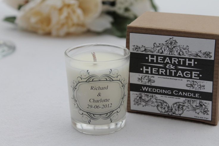 single boxed votive, personalised, ideal as a favour or bridemaids gift.