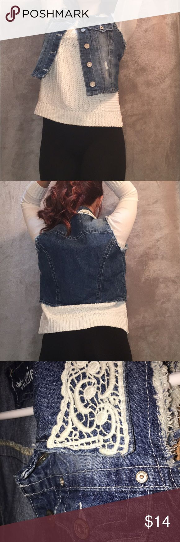 Sleeveless Denim Jacket (cropped) ONLY THE JACKET IS INCLUDED IN THIS! only worn once to a concert. no damage, looks brand new. has white lace all throughout the collar. very thick denim material! series Jackets & Coats Jean Jackets