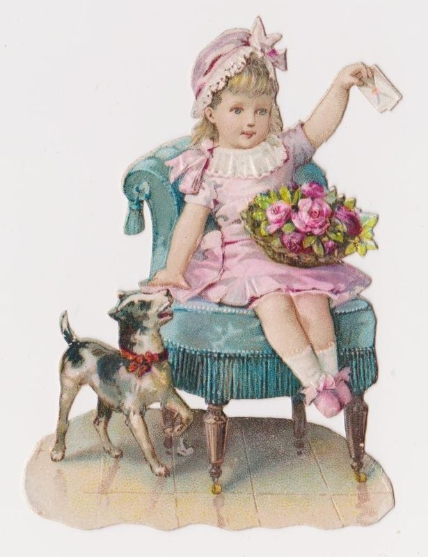 vintage Victorian scrap, girl and dog