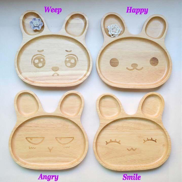 Cheap Niños respetuosos del medio ambiente bandeja de madera vajilla de bebé de dibujos animados del diseño del conejo niños aperitivos de postre de madera placa bandeja plato de 6 pulgadas, Compro Calidad Platos directamente de los surtidores de China: