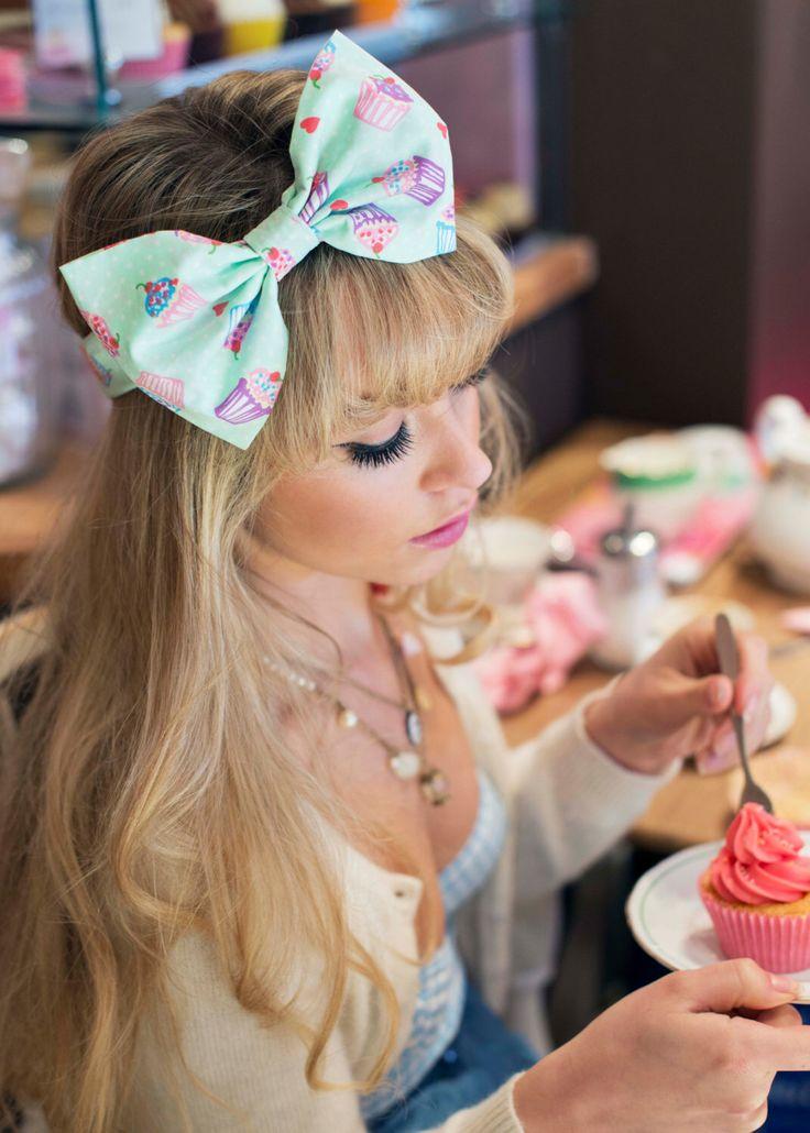 Mint Green Cupcake Bow Headband, Dolly Bow, Bow Headband, Rockabilly Pin Up Girl Headband, Oversized Bow Headband, Cute Kawaii Headband by beauxoxo on Etsy https://www.etsy.com/listing/162509198/mint-green-cupcake-bow-headband-dolly