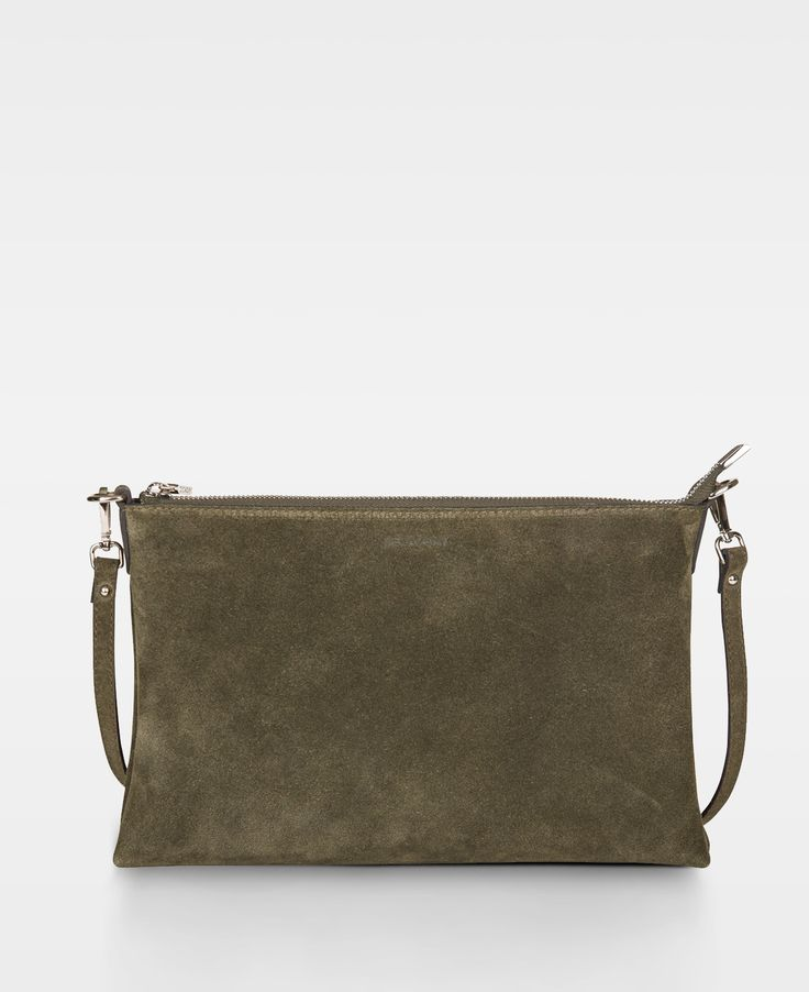 Decadent Small flat cross body - Suede army
