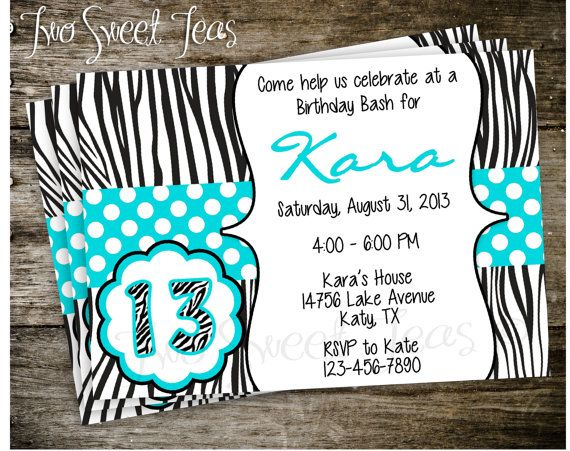 Printable Pink Turquoise Zebra Polka Dot Girly Girl Birthday Party Invite Invitation Tween Digital
