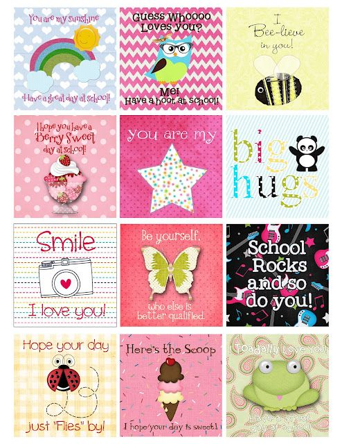 Kids lunchbox note printables, other LDS printables