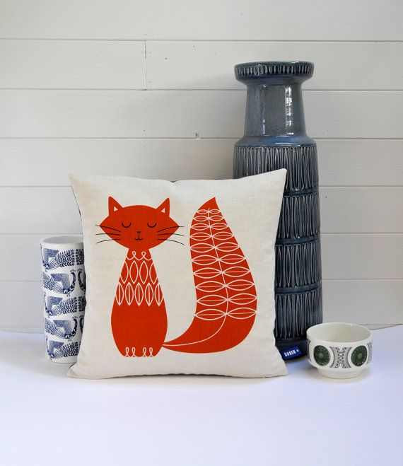 cat cushion by robin and mould https://www.etsy.com/listing/123362487/new-hand-screen-printed-cat-cushion?ref=shop_home_active
