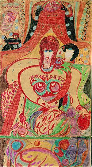 Aloïse Corbaz (Es könnte sich um Eva handeln mit der Schlange und einem Apfel in der Hand. Auf dem Schoß eine Schale mit Früchten, vaginaförmig. Ganz unten sieht es aus, als ob ein anderes Bild da wäre, aber abgeschnitten.)