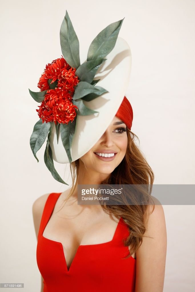 Myer Fashions on the Field Millinery contestants pose on Kennedy Oaks Day at Flemington Racecourse on November 9, 2017 in Melbourne, Australia.