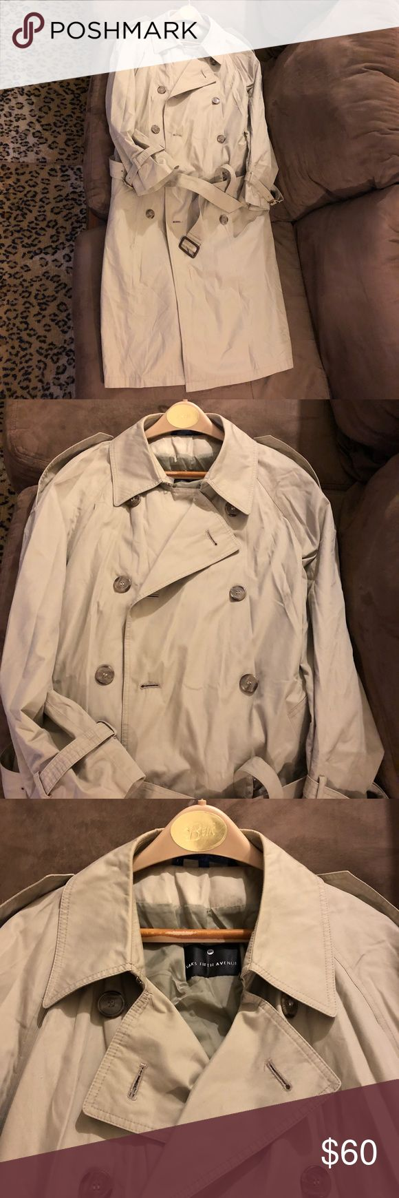 Saks Fifth Avenue Tan Trench Coat 44R Saks Fifth Avenue Solid Tan Double Breasted Cotton Trench coat Overcoat Rain Coat size 44R Regular! Great condition! Please make reasonable offers and bundle! Ask questions! Saks Fifth Avenue Jackets & Coats Trench Coats