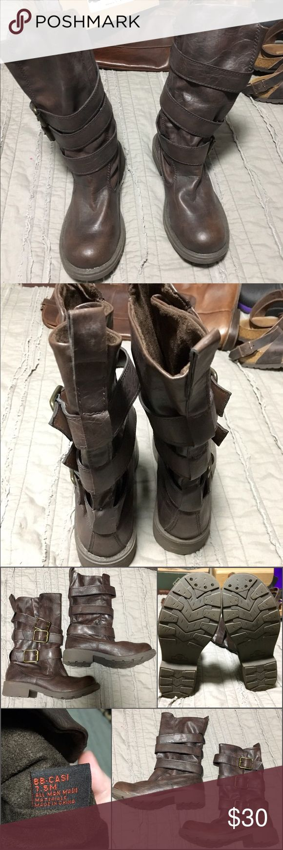 Big Buddha Casi Motorcycle mid-calf boots size 7.5 Lightly worn, vegan boots with straps and buckles. These run small. I would say they fit more like a 7, possibly smaller. Big Buddha Shoes Combat & Moto Boots