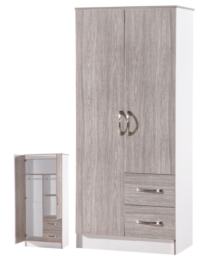 Arkfw Grey Oak Gloss Amp White Ash Double Combi Wardrobe