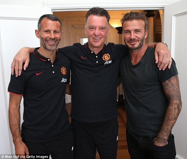 Legends: Louis van Gaal poses next to former Manchester United duo Giggs and Beckham