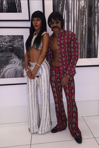 We're so here for Michelle Williams and her stylist's Sonny and Cher moment.   Beyonce's Soul Train Bash
