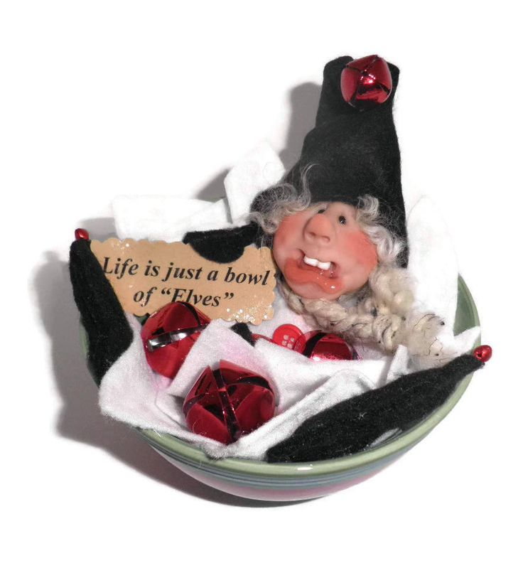 Original Handmade Christmas Elf Jingle Bell  Mantel or Table Decoration Original Handmade See Coupon Code For More Savings BOE1 by JingleJangleJElves on Etsy