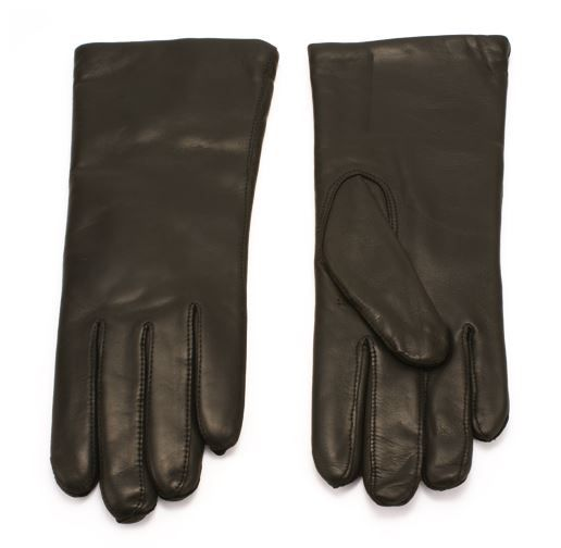 Gants en cuir noir doublé laine pour femme du Danemark.