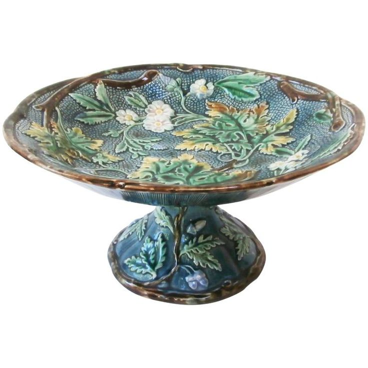 Majolica White Flowers Comport | From a unique collection of antique and modern platters and serveware at https://www.1stdibs.com/furniture/dining-entertaining/platters-serveware/
