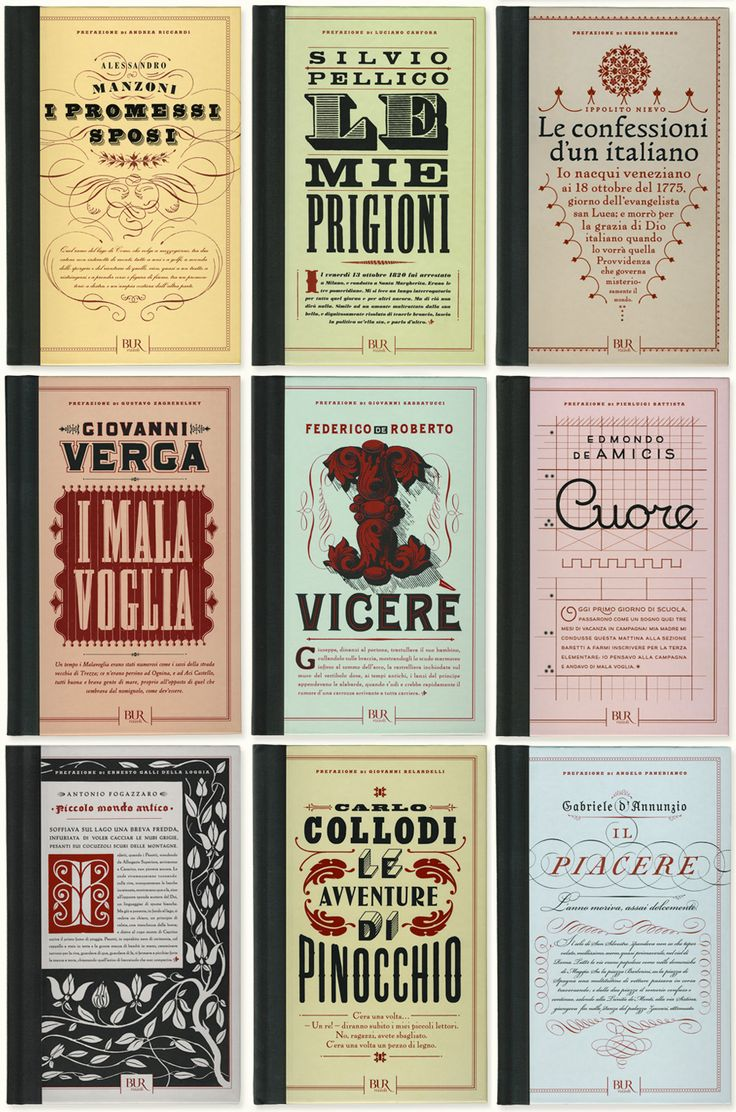 "Louise Fili Ltd book covers for the ""Romanzi d'Italia"" series, ten novels that have shaped Italy."