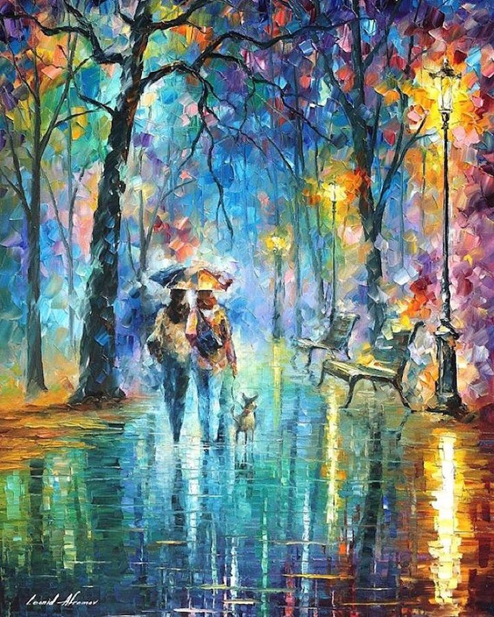 Leonid Afremov is a modern impressionistic painter who creates bright and cheerful artwork with a palette knife and oil paints. Focusing primarily on land and seascapes, he forms distinctive pieces with bold knife cuts and colour contrasts that convey a range of jubilant emotions. Afremov is recognized as a self-representing artist, operating exclusively online, with few exhibitions and very little outside involvement from promoters and galleries. His artistic philosophy rests on the idea…