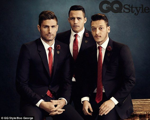 Olivier Giroud, Alexis Sanchez and Mesut Ozil pose for a GQ Style shoot wearing new Lanvin Arsenal suits