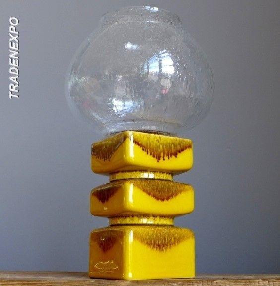 Vintage 70's PAN KERAMIK Goebel Yellow Candle Holder W.German Fat Lava Vase Era