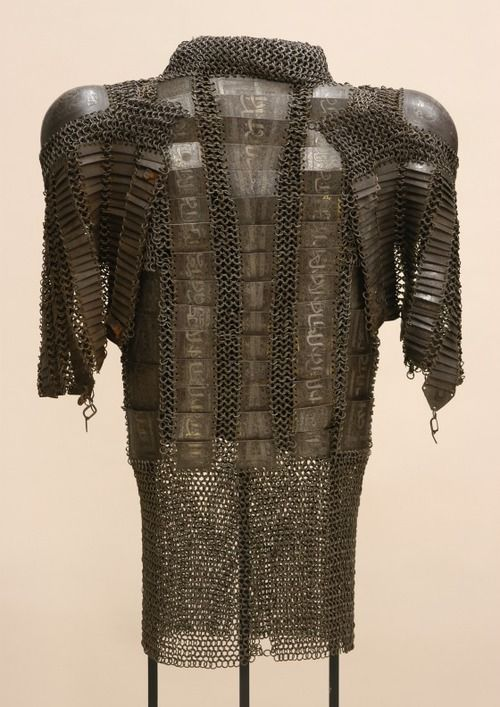 Iran, 16th-17th century.  Steel with silver inlay. Persian zirh gomlak (zirah baktar-bagtar) a mail and plate shirt, someone mistakenly put a pair of dizcek (cuisse or knee and thigh armor) on the shoulders.