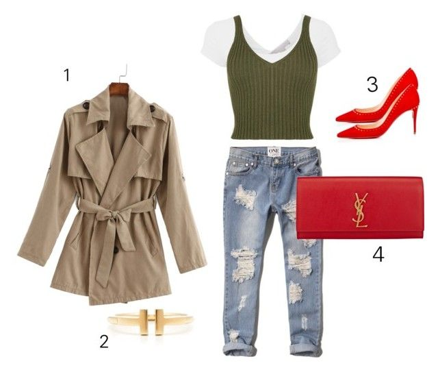 """1de1shop"" by chicchampion-579 on Polyvore featuring Abercrombie & Fitch, Yves Saint Laurent, Christian Louboutin and Tiffany & Co."