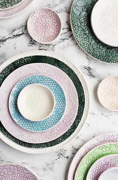 green ceramic serving plate