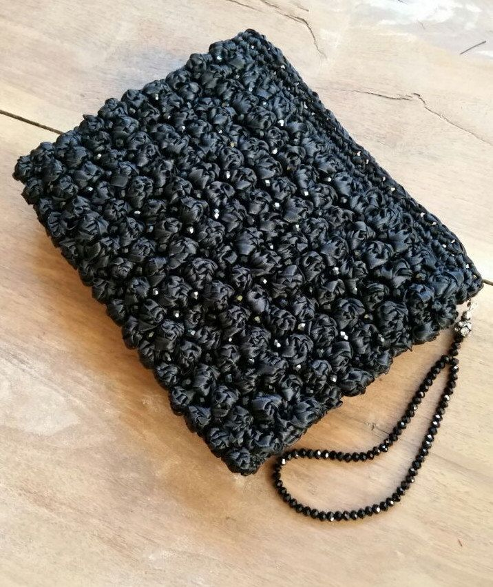 Wife Gift, Black Satin Ribbon Clutch, Crochet Clutch, Evening Bag, Party Clutch, Wedding Clutch, Christmas Party Outfit, Gift for Bridesmaid by LTLDizaynDIY on Etsy