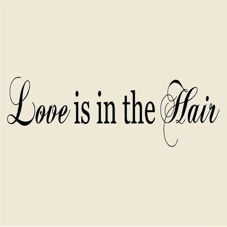 "Love is in the Hair 12""H x 48""W Salon Vinyl Wall Decal-Beauty Salon Wall Sticker Mural-Hairdresser Hair Stylist Salon Decor by VinylDesignCreations on Etsy"