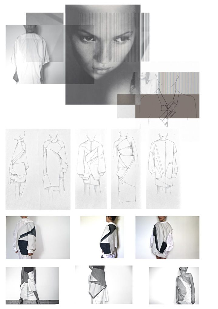 Fashion Sketchbook - geometric fashion design, research & garment sketches; fashion portfolio // Laura Fornetran