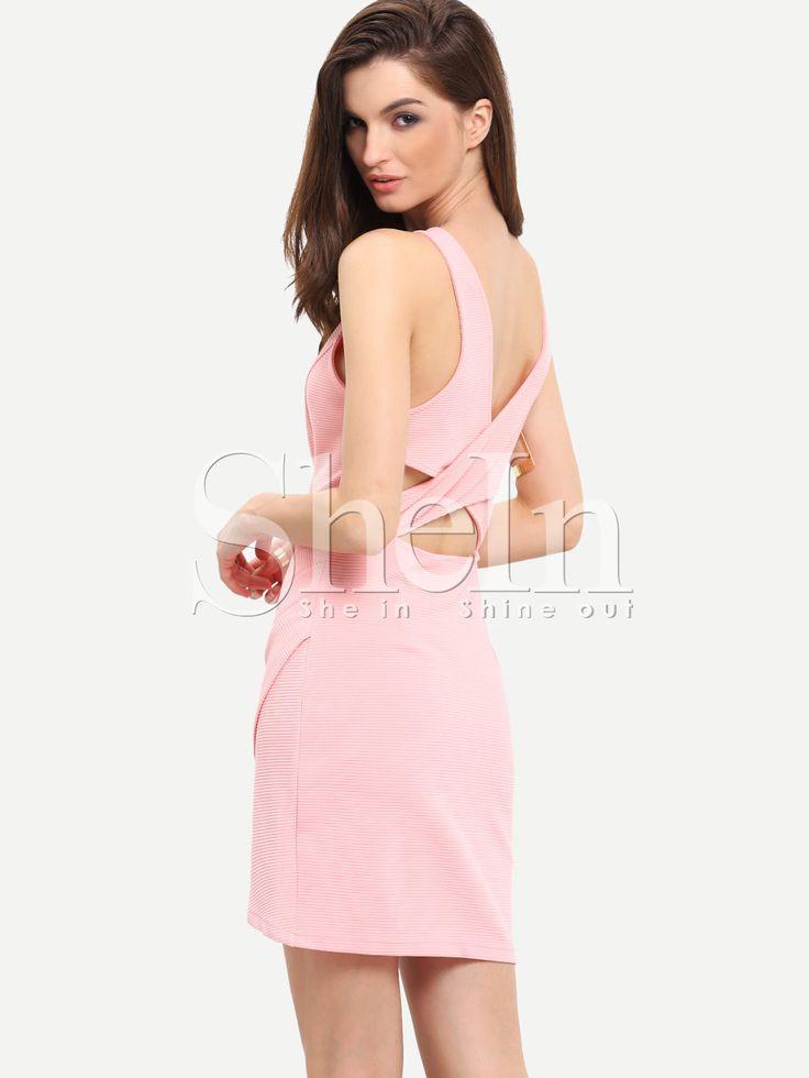 Vestido sin manga entallado -rosa-Spanish SheIn(Sheinside)