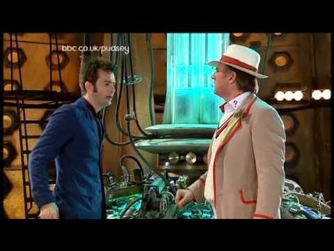 Found this for you Dr. who fans. It's the 10th doctor meeting up with the 5th doctor, who also happens to be his father inlaw in real life since he married his daughter..... who is the daughter dr who had as number 10 lol   - Doctor Who Children in Need Special [2007]