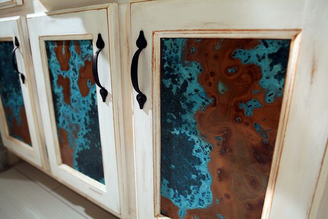 Chemical Sprayed Copper Cabinet Panels Azul Bathroom 3 By