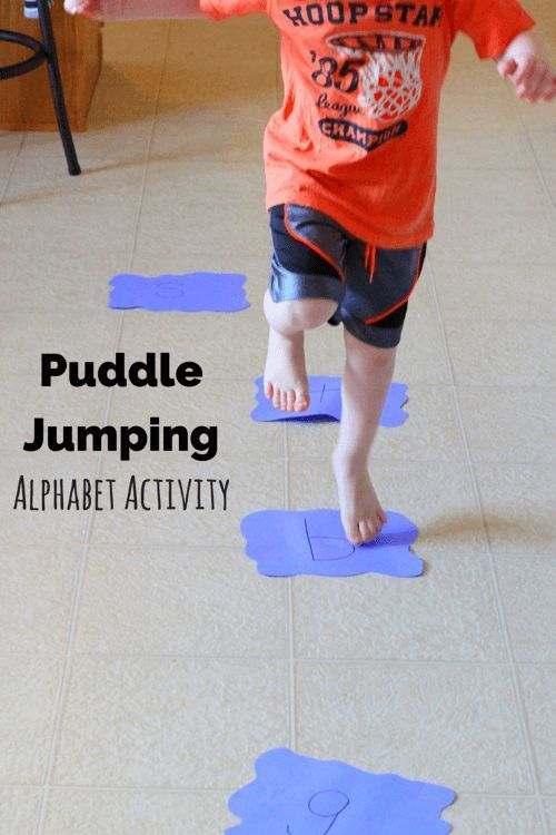 Kids will have a blast jumping puddles while doing this alphabet activity!