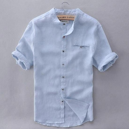 ff724b2cda 2017 Pure Linen Shirts Men Short Sleeve Solid White Men Shirt Brand Summer  Flax Shirt Mens Slim Comfortable Shirts Mens Camisa  menscasualfashion