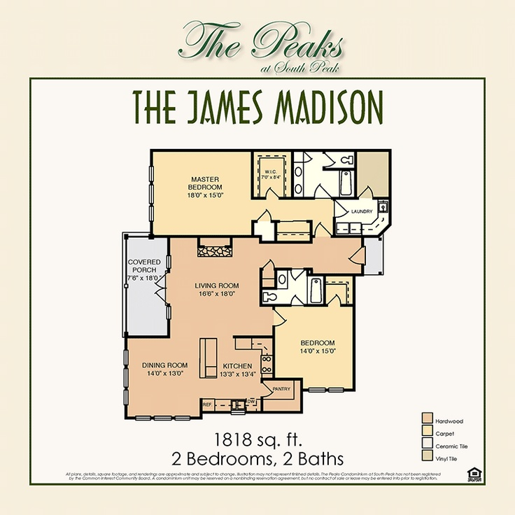 9 best the peaks at south peak images on pinterest floor plans the james madison floorplan 2 bedroom malvernweather Gallery