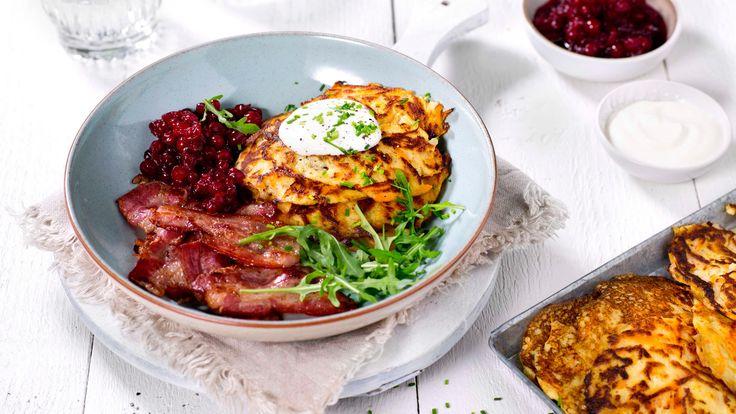 Oppskrift på Potetpannekaker med bacon