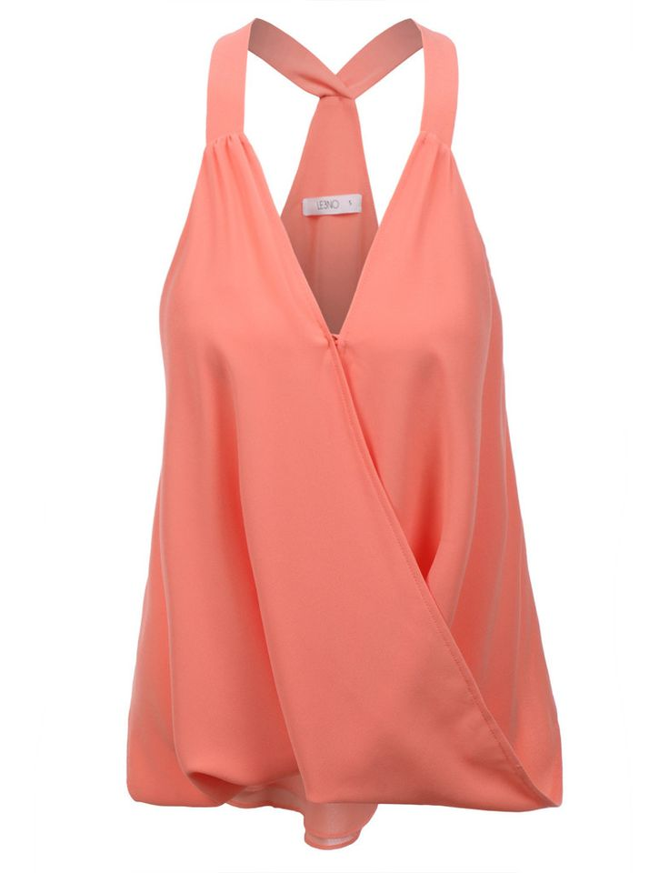 LE3NO Womens Sleeveless Chiffon Front Draped Racerback Tank Top