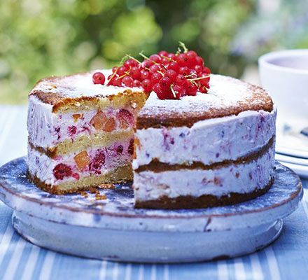Peach & red berry ice cream cake. This dessert is one seriously cool customer - layer vanilla sponge with mascarpone fruit ice cream and berries