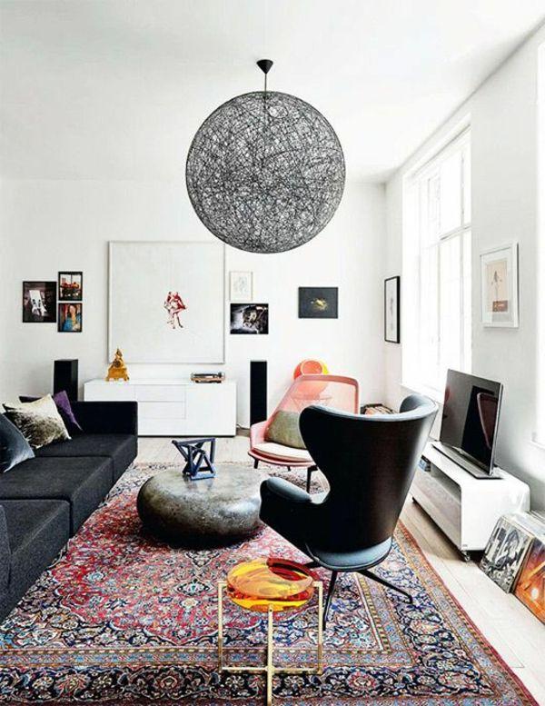 Trend wohnzimmer modern einrichten kugel pendelleuchten